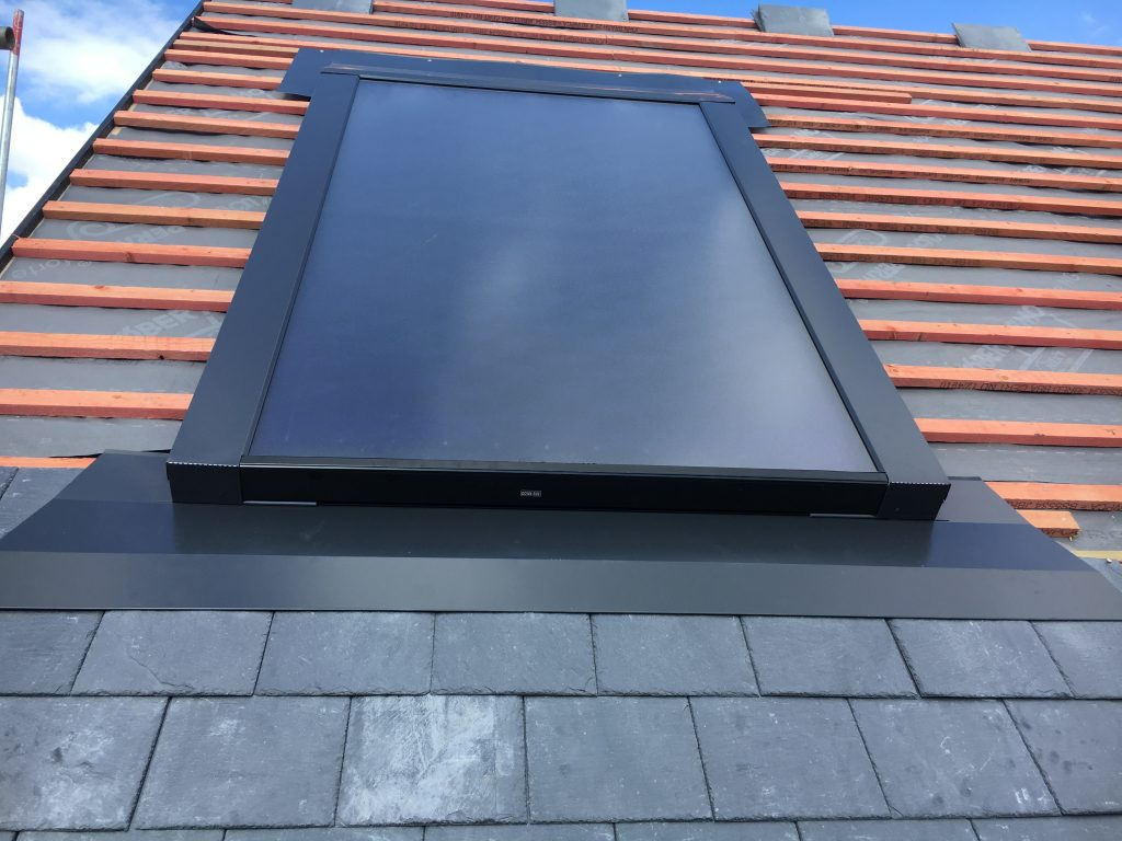 Thermomax flat panel partially installed