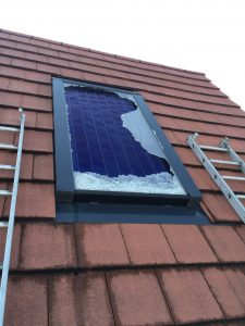 Broken Solar Water Heating panel in Watford